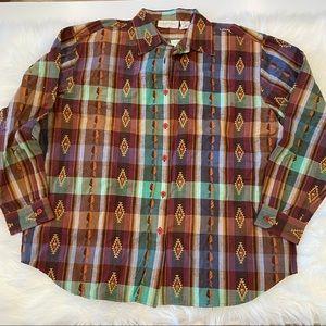 Lemongrass Plaid button down shirt X Large NEW